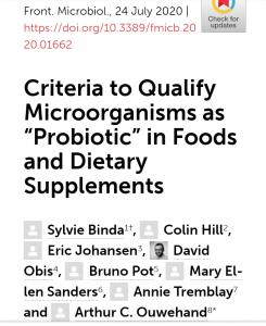 criteria for probiotic